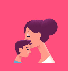 Mom and child kissing for family love concept vector
