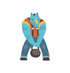 Muscular rhinoceros man rhino head animal vector