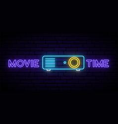 neon cinema projector sign bright glowing vector image