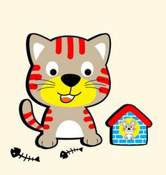 Nice kitten cartoon with little rat vector
