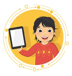 Of A Boy With A Tablet vector image