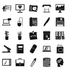 Office workers icons set simple style vector
