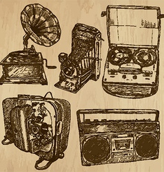 old objects no4 - hand drawn collection vector image