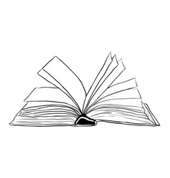 open book outline symbol icon design beautiful vector image