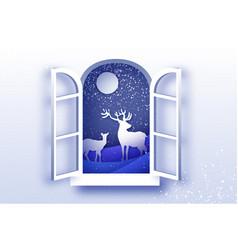 Origami window frame deer family in paper cut vector