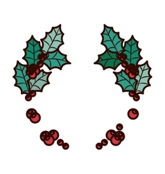 ornament Christmas with leaves and berrys vector image