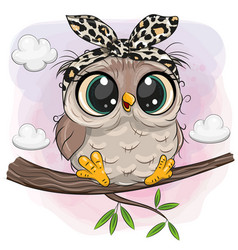 Owl with big eyes is sitting on a branch vector