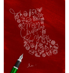 pen line drawing christmas tree toy socks red vector image