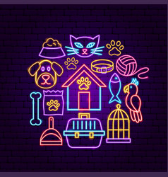 pet shop neon concept vector image