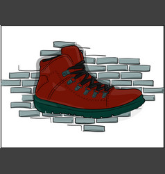 red lace-up shoes on a gray brick wall background vector image