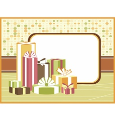 Retro background with gifts vector
