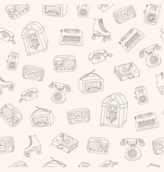 retro pattern with vintage radio typewriter vector image