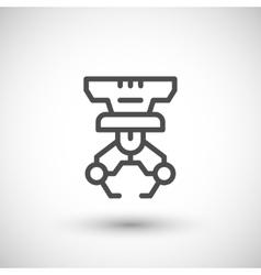 Robotic claw line icon vector