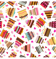 Seamless pattern with colorful sweet cakes vector