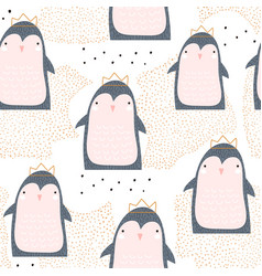 seamless pattern with cute penguin princess in vector image