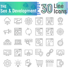 seo and development thin line icon set vector image