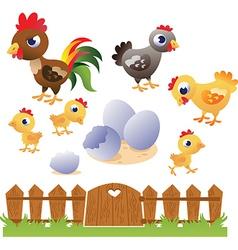 set chicken and hen vector image