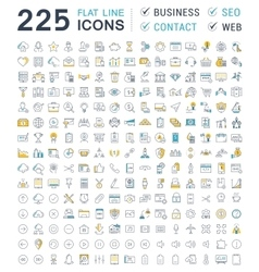 Set Flat Line Icons Business SEO WEB and vector image
