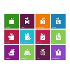 set gift box icons vector image