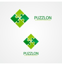 Set of puzzle logo for design template elements vector image