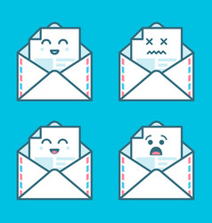 set of smile emoji emoticon face in email with a vector image