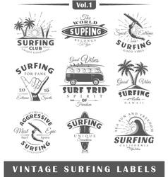 Set vintage surfing labels vol1 vector