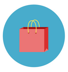 shopping bag icon on round blue background vector image