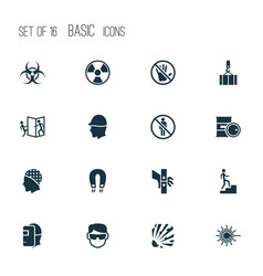 Sign icons set with welder stop explosive and vector