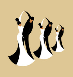 silhouettes dancing couples isolated on a beige vector image