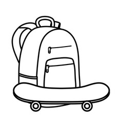 skateboard sport with schoolbag icons vector image