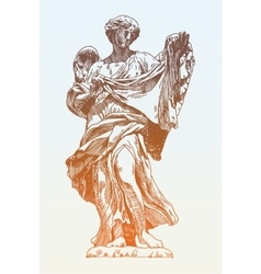 Sketch ink drawing marble statue of angel from vector