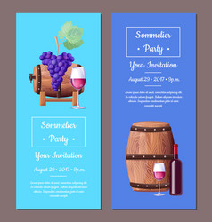 sommelier party invitation set vector image