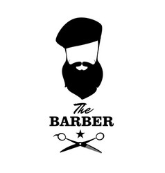 The barber handsome man with beard beret and vector