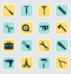Tools icons set collection of bolt cutter screw vector