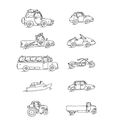 Transport sketch set vector