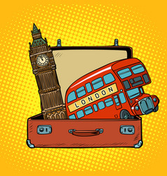 Travel to england concept suitcase with london vector