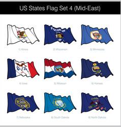 us states flag set - mid east vector image