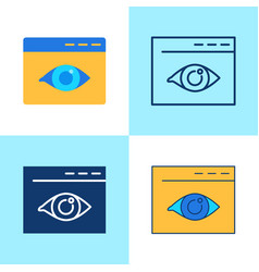 web visibility icon set in flat and line style vector image