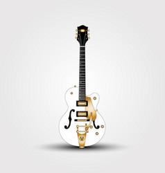 White guitar beautiful semi-acoustic guitar vector