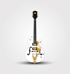 white guitar beautiful semi-acoustic guitar with vector image