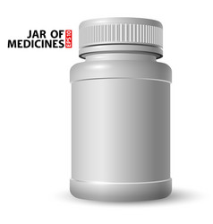 white plastic jar for medicines with a closed lid vector image