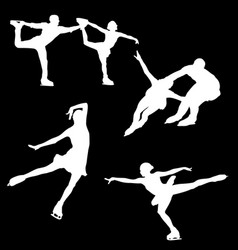 white silhouette of figure skating on a black vector image