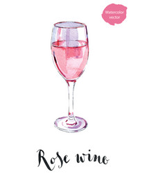 Wineglass of rose wine vector