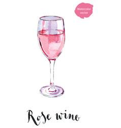 Wineglass rose wine vector