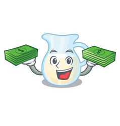 With money milk jug completely filled with vector