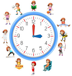 Woman activity on clock vector