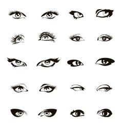 Woman eyes Beautiful female eye set or ink vector