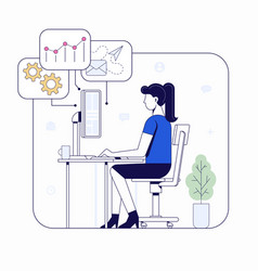 woman working on computer vector image