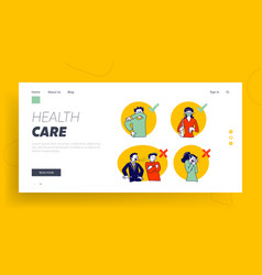 wrong and correct ways for sneezing landing page vector image