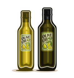 2 green bottles with olive oil vector